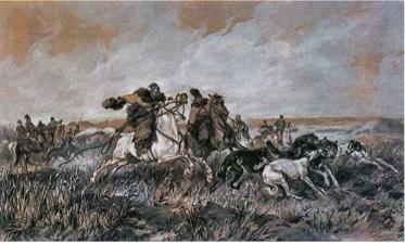Polowanie stepowe na wilka Juliusz Kossak 1883, MUzeum Leona Wyczółkowskiego w Bydgoszczy (4)
