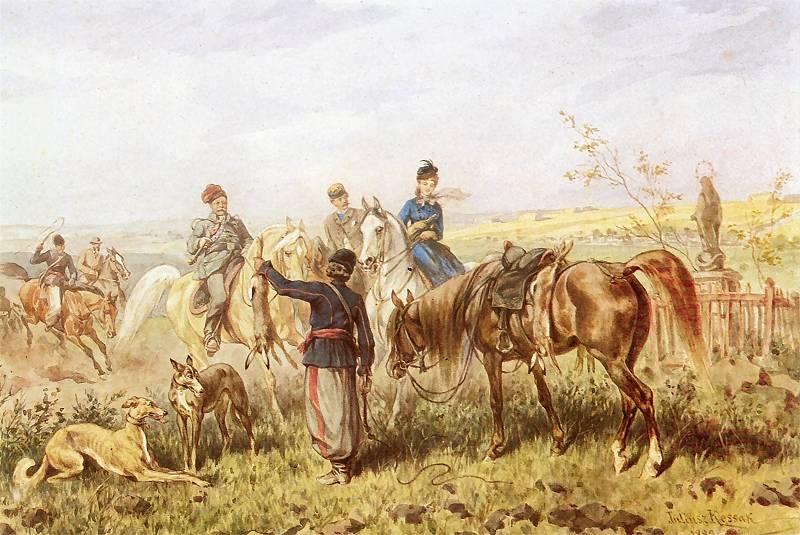 Polowanie na zająca, Juliusz Kossak, 1883; akwarela; własność prywatna